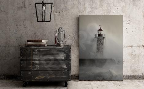 Obraz latarnia morska i fale sztormowe