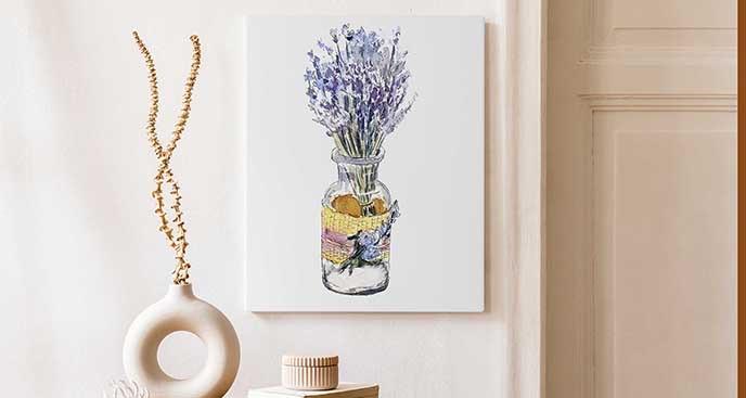 Akwarelowy obraz z kwiatami