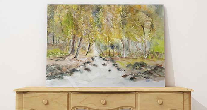 Obraz leśny strumyk
