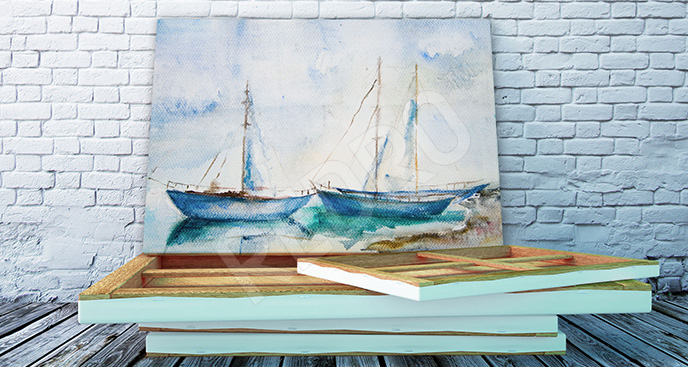 Obraz łodzie akwarela