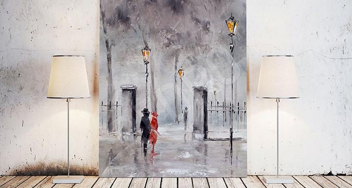 Obraz ludzie na spacerze