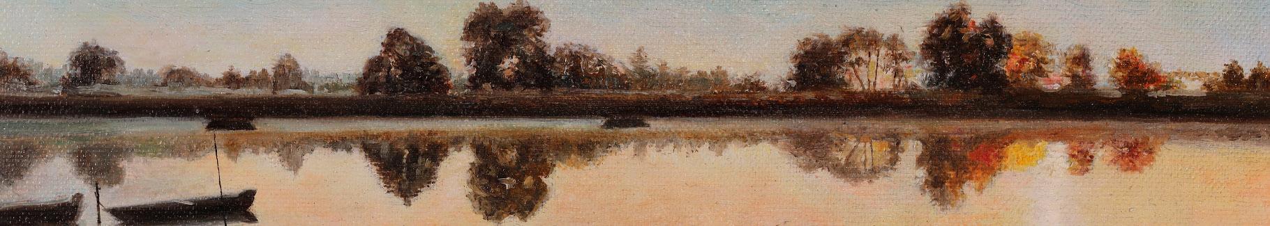 Obraz malarstwo o zachodzie słońca
