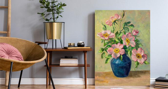 Obraz malarstwo z kwiatami