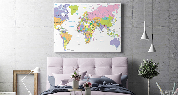 Obraz mapa do sypialni podróżnika