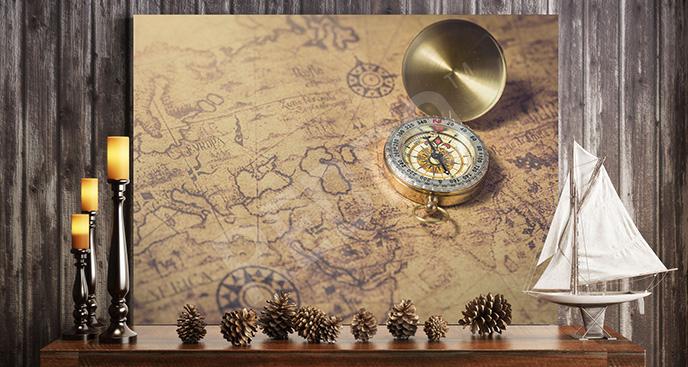 Obraz mapa i kompas