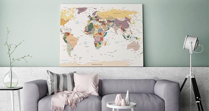 Obraz mapa polityczna do salonu
