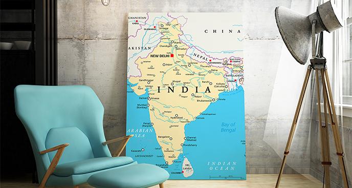 Obraz mapa polityczna Indii