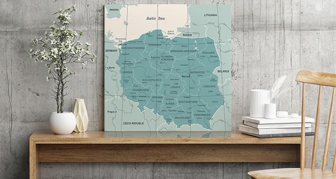 Obraz mapa polityczna Polski