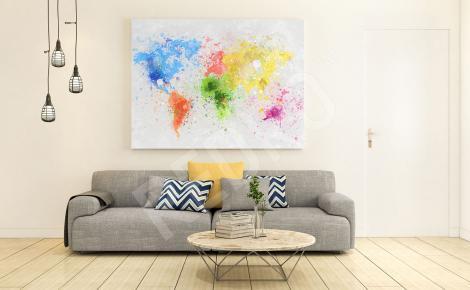 Obraz mapa świata plamy koloru