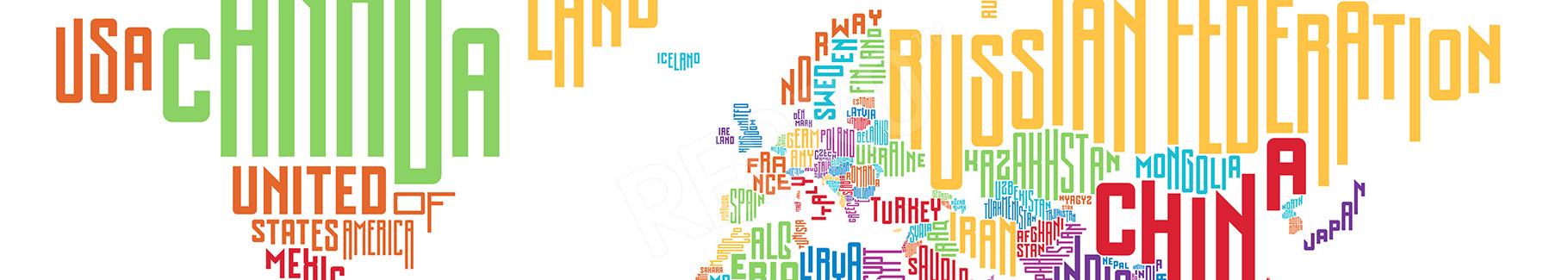 Obraz mapa świata typograficzna