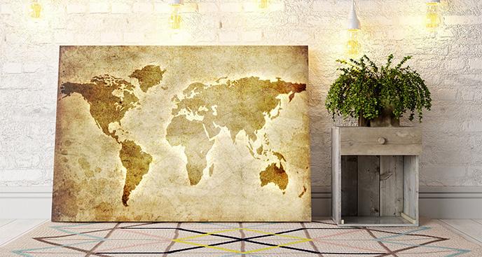 Obraz mapa świata w sepii