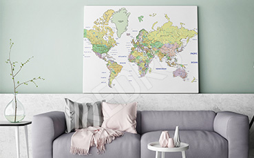 Obraz mapa w salonie