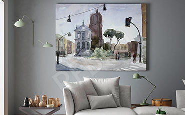 Obraz miasto malowane akwarelą