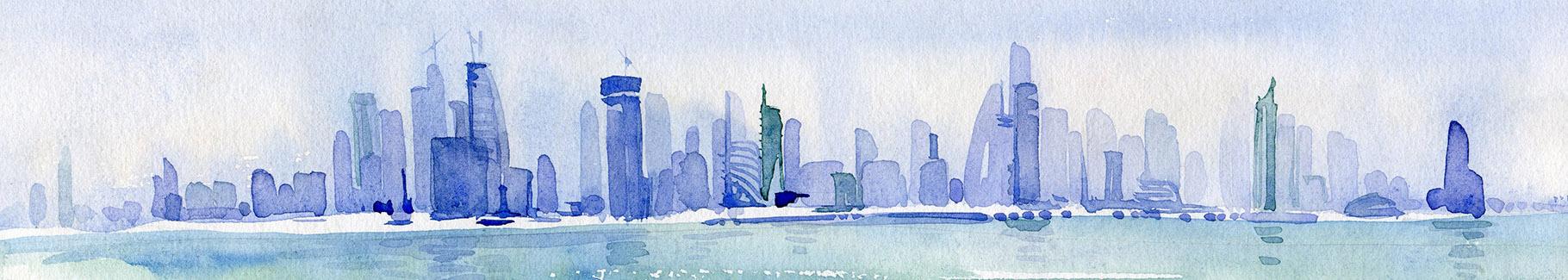 Obraz miasto w akwareli