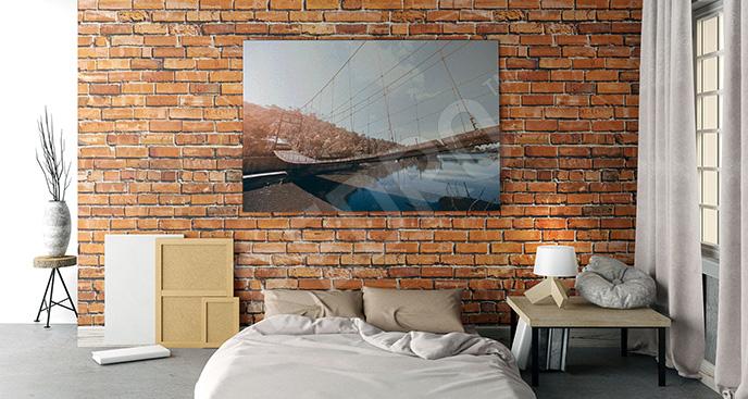 Obraz most linowy do sypialni