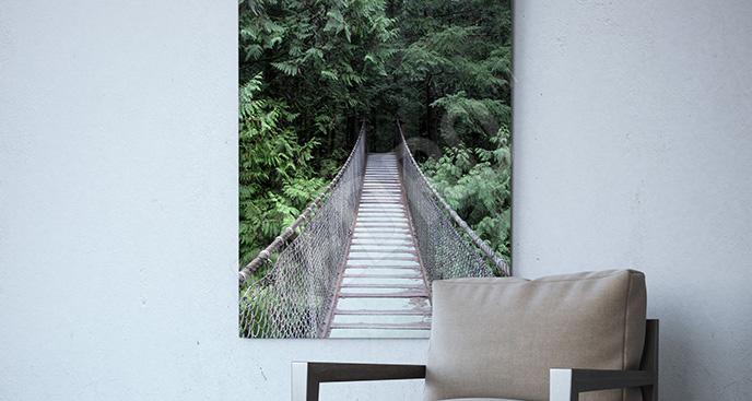 Obraz most linowy w głębi lasu