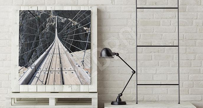 Obraz most linowy w górach
