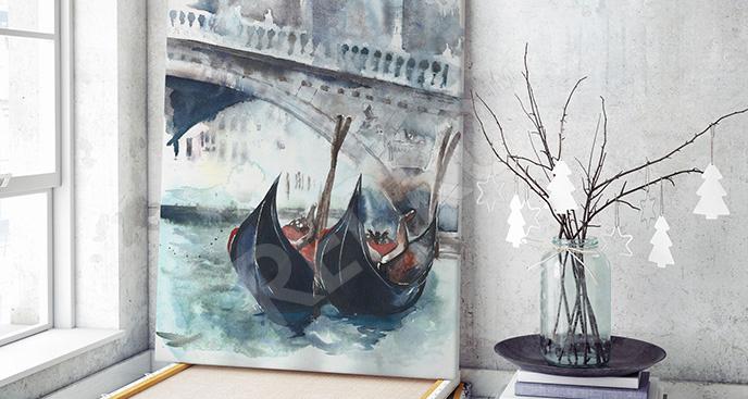 Obraz Most Rialto i gondole