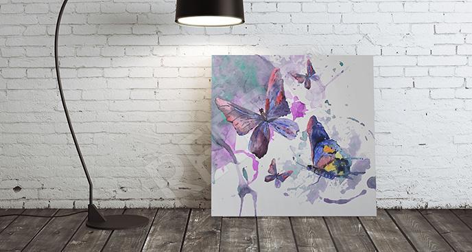 Obraz motyle i abstrakcyjne plamy