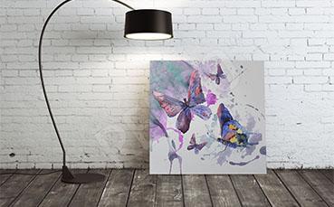 Obraz motyle i abstrakcyjne plamy koloru