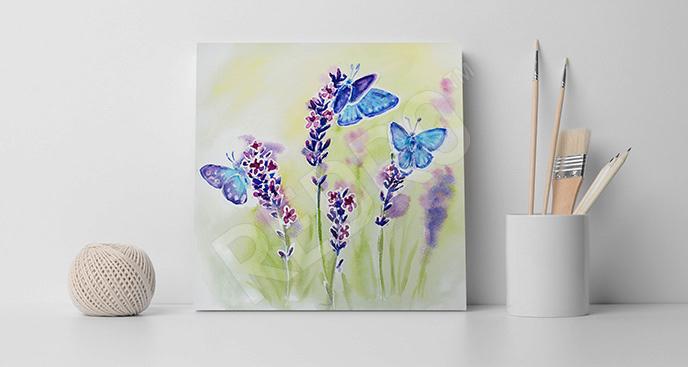 Obraz motyle i lawenda