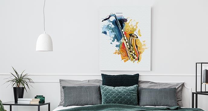 Obraz muzyczny saksofon w akwareli