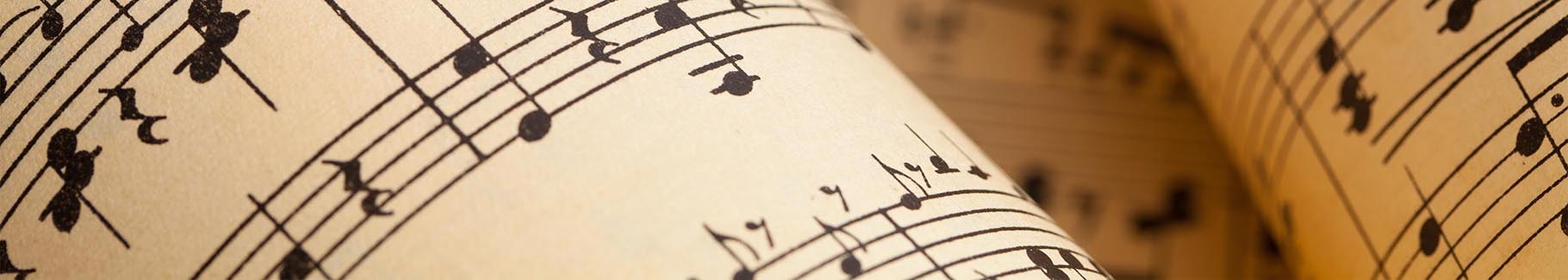 Obraz muzyka nuty na pięciolinii