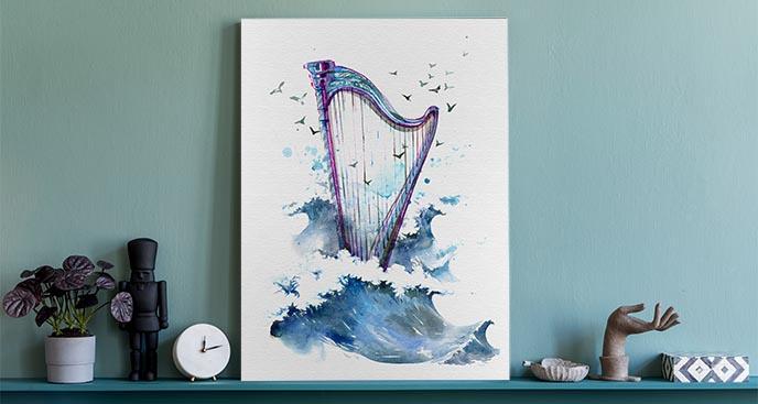 Obraz muzyka z morskim motywem