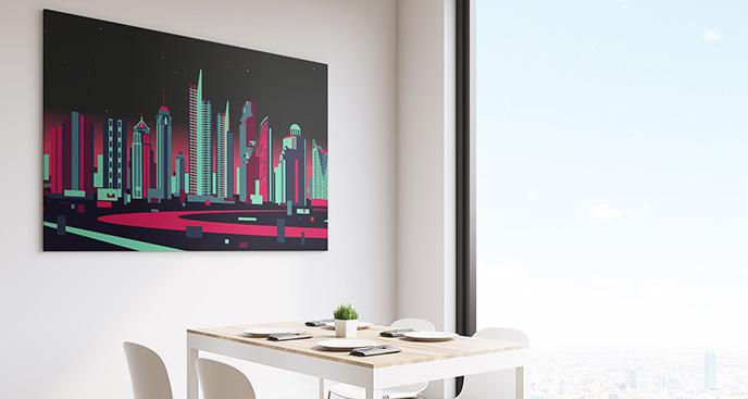 Obraz neonowe budynki