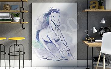Obraz niebieski koń