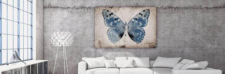 Obraz niebieski motyl retro