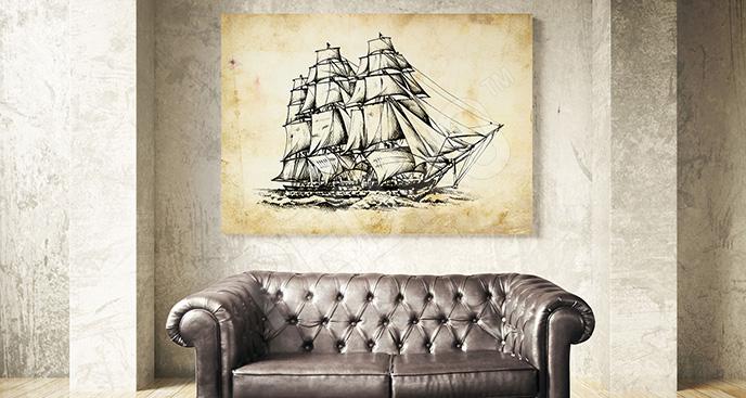 Obraz okręt w stylu retro
