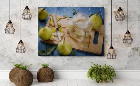 Obraz owoce gruszki w słoiku