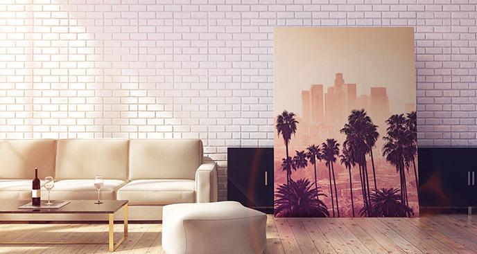 Obraz palmy na tle wieżowców