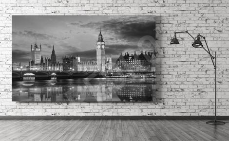 Obraz panorama Londynu czarno-biała