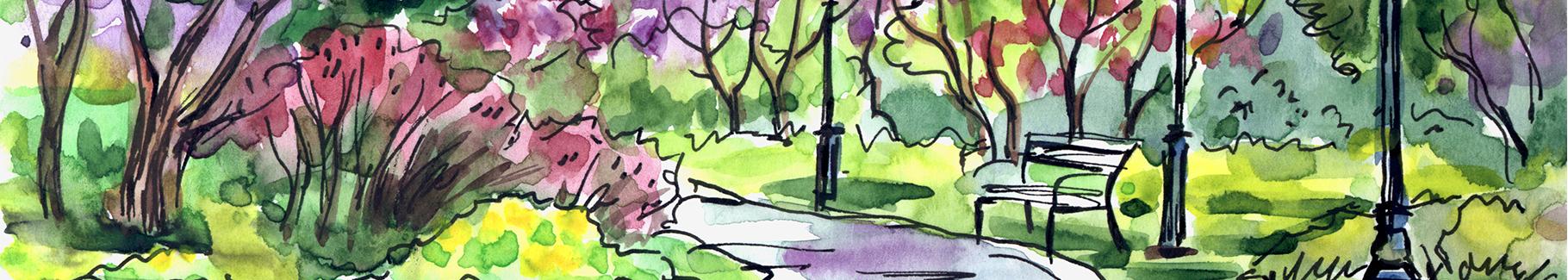 Obraz park malowany akwarelą