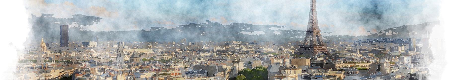 Akwarelowy obraz z Paryżem