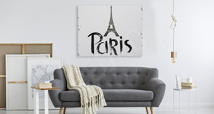 Obraz Paryż z napisem