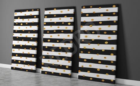 Obraz paski czarno-białe ze złotymi kropkami