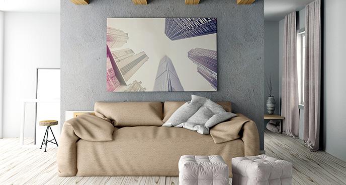 Obraz pastelowe drapacze chmur