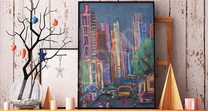 Obraz pastelowe miasto