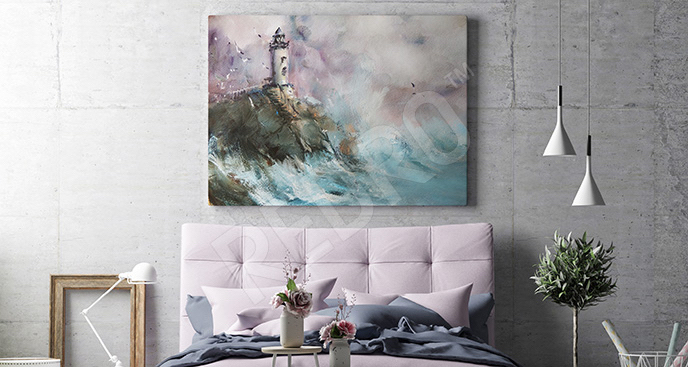 Obraz pejzaż morski z latarnią