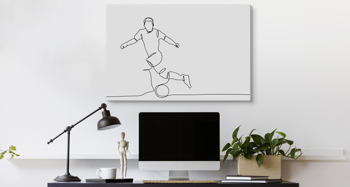 Obraz piłkarz na boisku