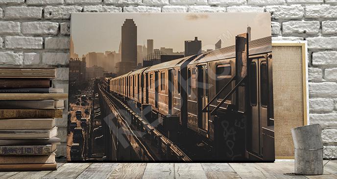 Obraz pociąg i zachód słońca
