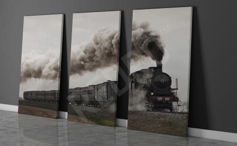 Obraz pociąg parowy tryptyk