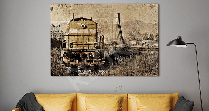 Obraz pociąg sepia