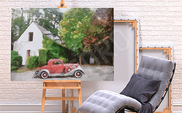 Obraz pojazd przed domem