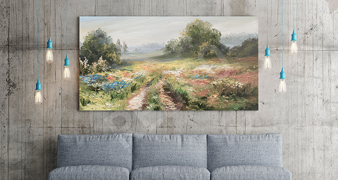 Obraz pole z kwiatami