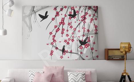 Obraz ptaki i wiśniowe drzewo