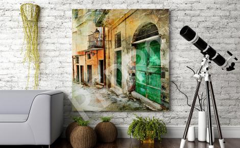 Obraz retro stare uliczki miasta